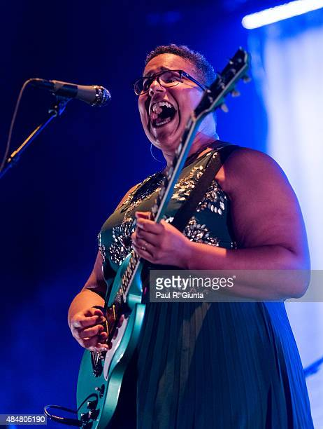 Brittany Howard of Alabama Shakes performs on stage at Verizon Wireless Amphitheater on August 21 2015 in Alpharetta Georgia