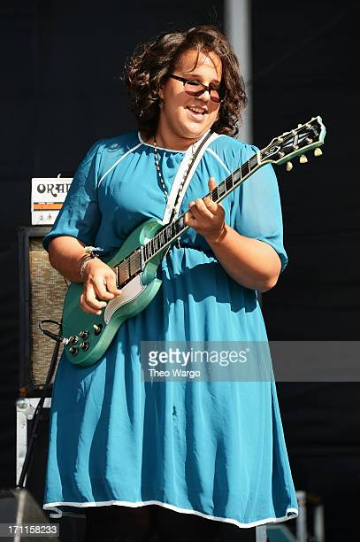 Brittany Howard of Alabama Shakes performs onstage at the Firefly Music Festival at The Woodlands of Dover International Speedway on June 22 2013 in...