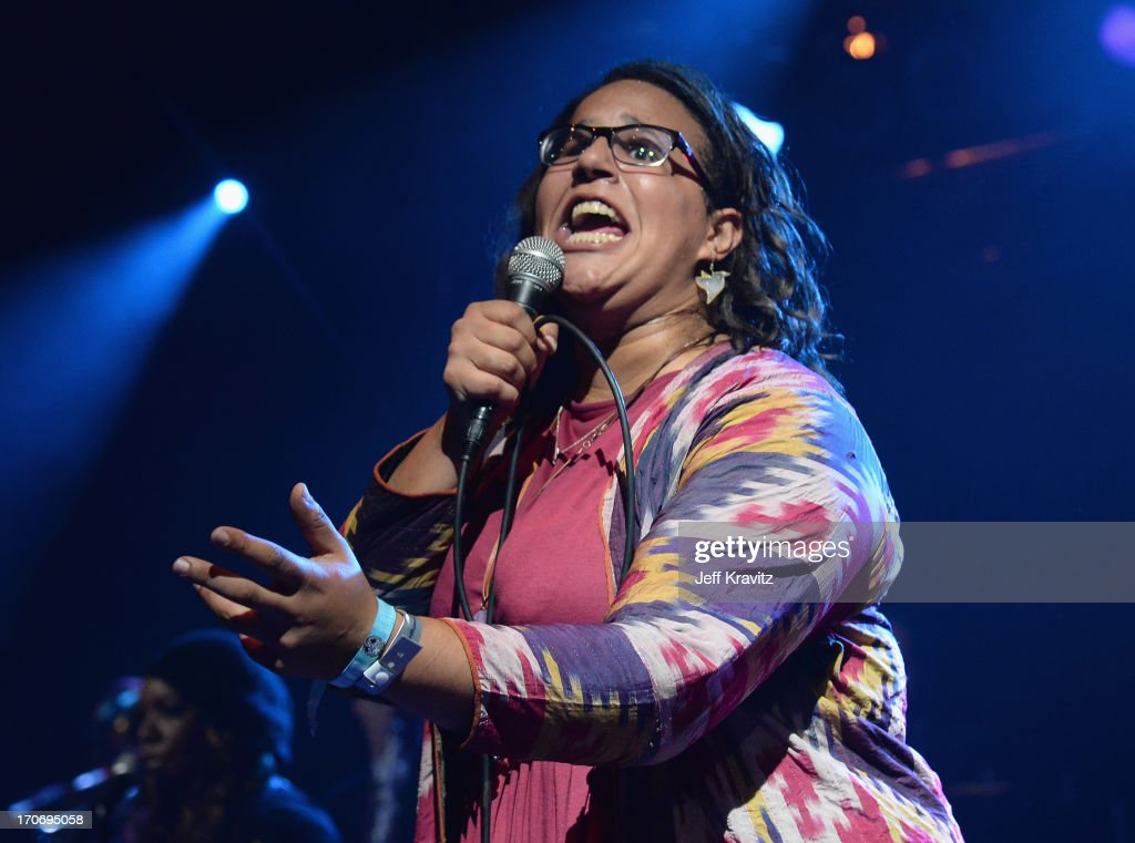 <a gi-track='captionPersonalityLinkClicked' href=/galleries/search?phrase=Brittany+Howard&family=editorial&specificpeople=8343255 ng-click='$event.stopPropagation()'>Brittany Howard</a> performs onstage at Rock n' Soul Dance Party Superjam at This Tent during day 3 of the 2013 Bonnaroo Music & Arts Festival on June 15, 2013 in Manchester, Tennessee.