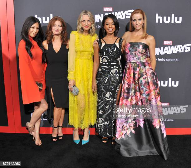 Brittany Ishibashi Brigid Brannagh Ever Carradine Angel Parker and Annie Wersching arrive at the premiere of Hulu's 'Marvel's Runaways' at Regency...