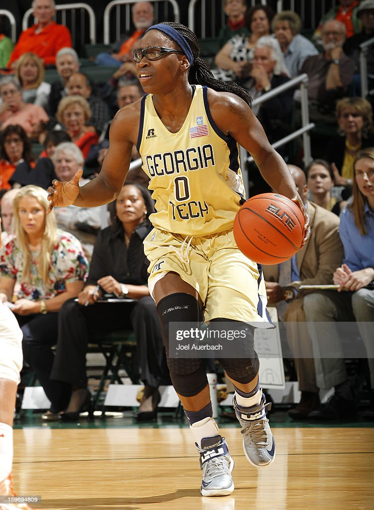 Brittany Jackson #0 of the Georgia Tech Yellow Jackets dribbles the ball against the Miami Hurricanes on January 17, 2013 at the BankUnited Center in Coral Gables, Florida. Miami defeated Georgia Tech 71-65.