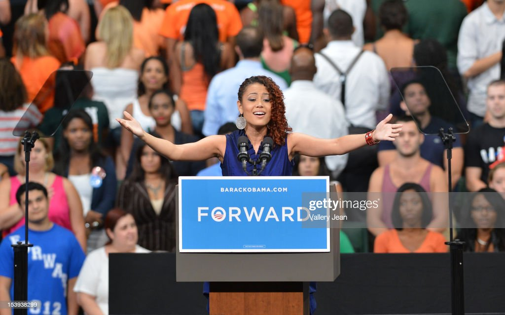 Brittany James sing the National Anthem at a grassroots event with President Obama at Bank United Center on October 11, 2012 in Miami, Florida.