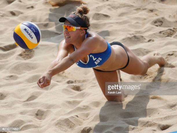 Brittany Kendall of Australia in action at the FIVB Beach Volleyball World Tour Xiamen Open 2017 on April 21 2017 in Xiamen China