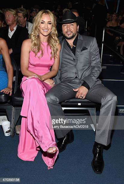 Brittany Kerr and recording artist Jason Aldean attend the 50th Academy Of Country Music Awards at ATT Stadium on April 19 2015 in Arlington Texas
