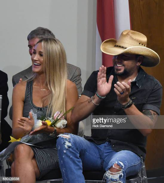 Brittany Kerr and Singer/Songwriter Jason Aldean attends Jason Aldean Street Dedication News Conference at The Medical Center Navicent Health's...