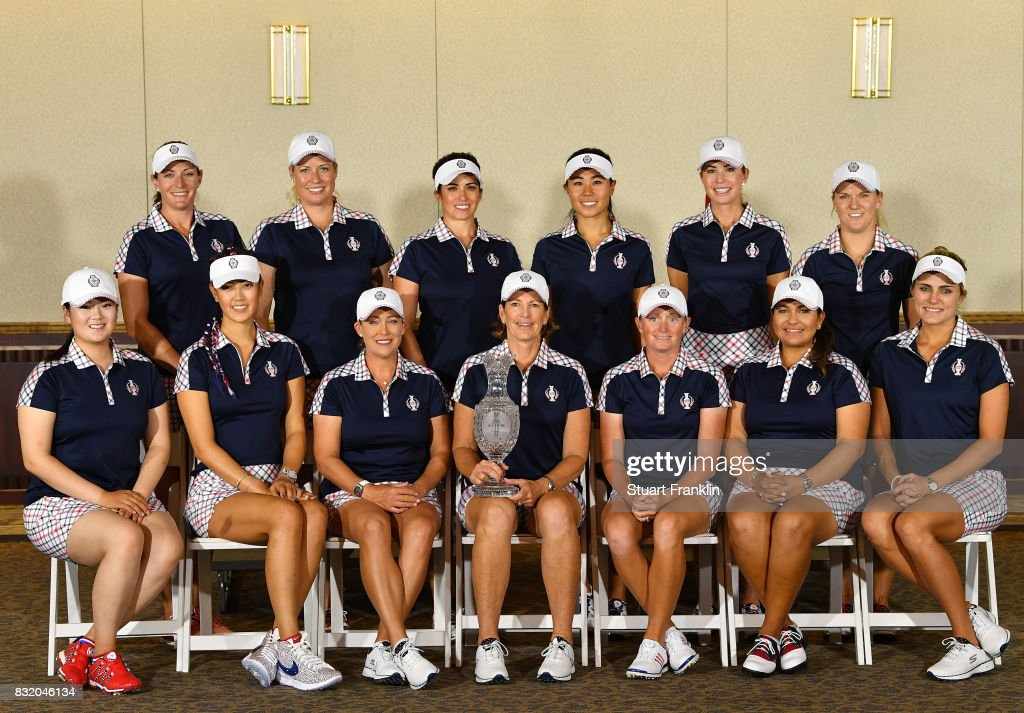 Brittany Lang, Brittany Lincicome, Gerina Piller, Danielle Kang, Paula Creamer, and Austin Ernst. Front row left to right) Angel Yin, Michelle Wie, Cristie Kerr, Captain Juli Inkster, Stacy Lewis, Lizette Salas, and Lexi Thompson, pose for a picture during a photocall prior to The Solheim Cup at the Des Moines Country Club on August 15, 2017 in West Des Moines, Iowa.