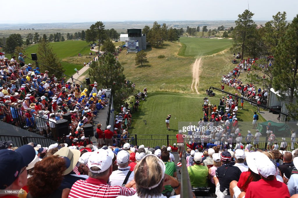<a gi-track='captionPersonalityLinkClicked' href=/galleries/search?phrase=Brittany+Lang&family=editorial&specificpeople=234881 ng-click='$event.stopPropagation()'>Brittany Lang</a> of the United States Team hits her tee shot on the first hole during the afternoon Four-Ball matches at the 2013 Solheim Cup on August 16, 2013 at Colorado Golf Club in Parker, Colorado.