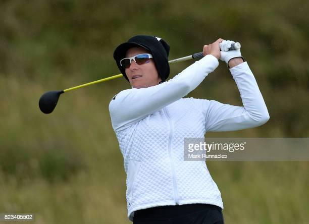 Brittany Lang of USA plays her tee shot to the 11th hole during the first day of the Aberdeen Asset Management Ladies Scottish Open at Dundonald...