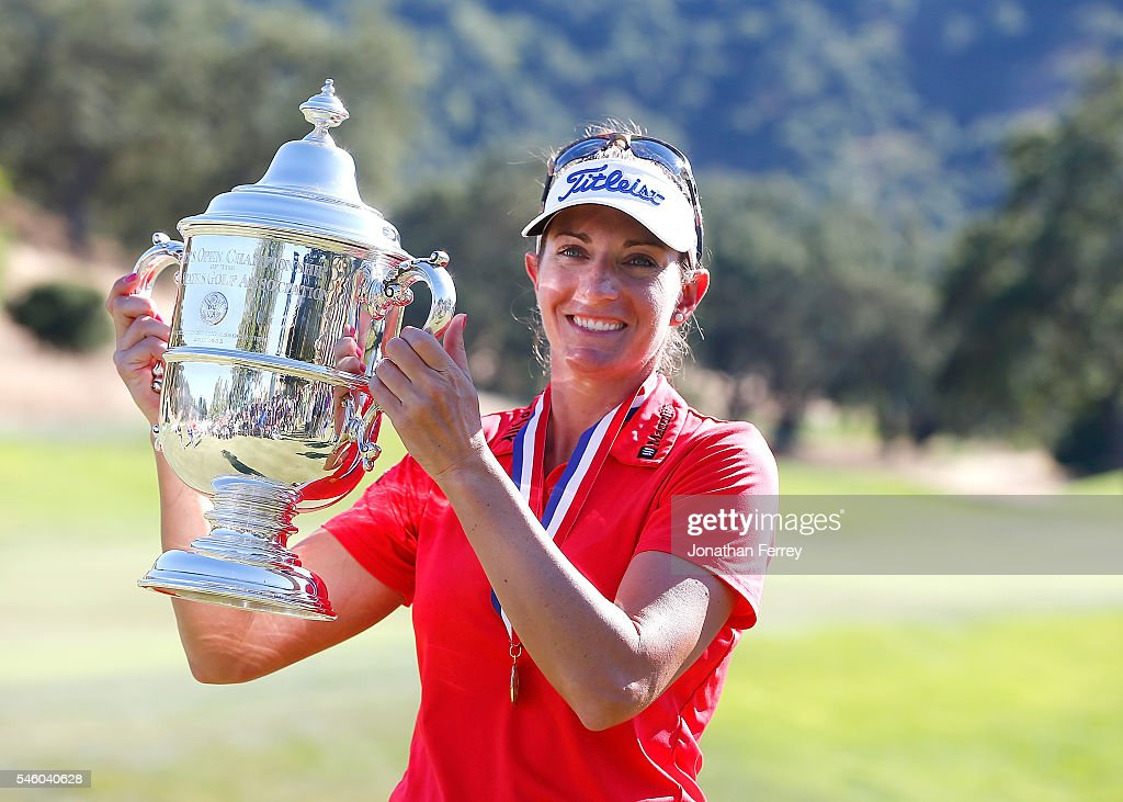 Brittany Lang poses with the trophy on the 18th green after defeating Anna Nordqvist of Sweden in a three hole playoff to win the U.S. Women's Open at CordeValle Golf Club on July 9, 2016 in San Martin, California.