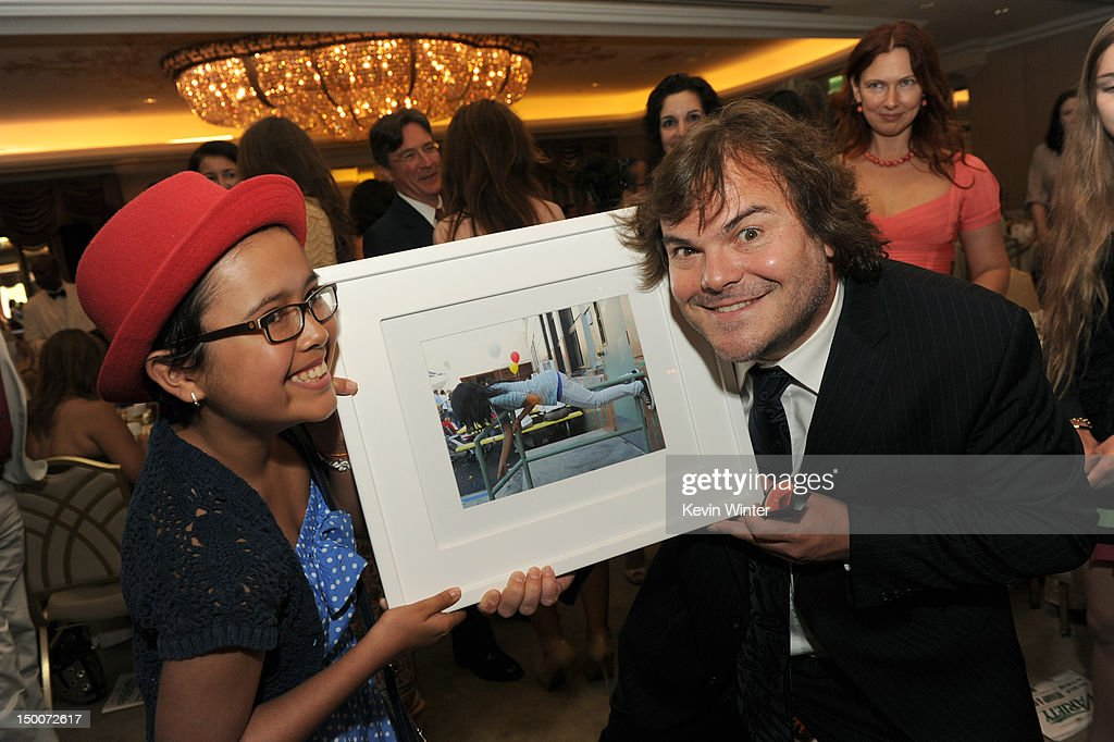 Brittany Lanham and actor <a gi-track='captionPersonalityLinkClicked' href=/galleries/search?phrase=Jack+Black&family=editorial&specificpeople=171453 ng-click='$event.stopPropagation()'>Jack Black</a> attend the Hollywood Foreign Press Association's 2012 Installation Luncheon held at the Beverly Hills Hotel on August 9, 2012 in Beverly Hills, California.