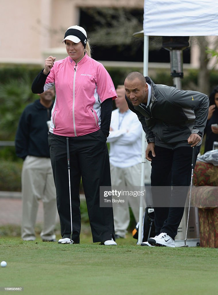 Brittany Lincicome and Derek Jeter attend the Derek Jeter 10th Annual Celebrity Golf Tournament Classic to benefit his Turn 2 Foundation presented by Seminole Hard Rock Hotel & Casino at Avila Golf & Country Club on January 18, 2013 in Tampa, Florida.