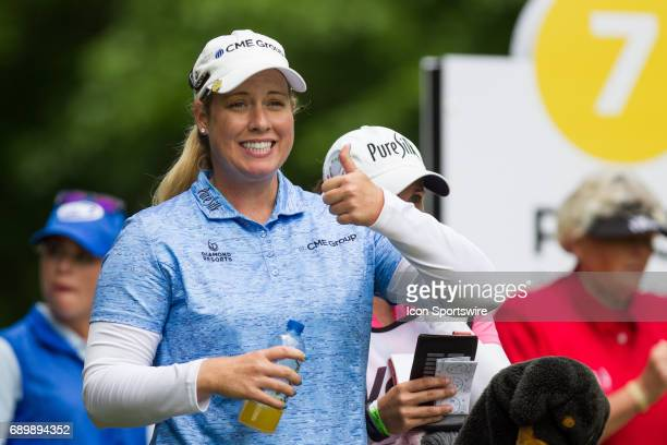 Brittany Lincicome gives a thumbs up to a fan while waiting to hit her tee shot on the seventh hole during the second round of the LPGA Volvik...