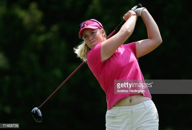 Brittany Lincicome hits her tee shot on the ninth during the Finals of the HSBC Women's World Match Play Championship at Hamilton Farm Golf Club on...