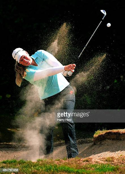 Brittany Lincicome hits out of a bunker on the sixth hole during the second round of the Canadian Pacific Women's Open at the Vancouver Golf Club on...