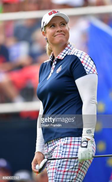 Brittany Lincicome of Team USA looks on during the final day singles matches of The Solheim Cup at Des Moines Golf and Country Club on August 20 2017...