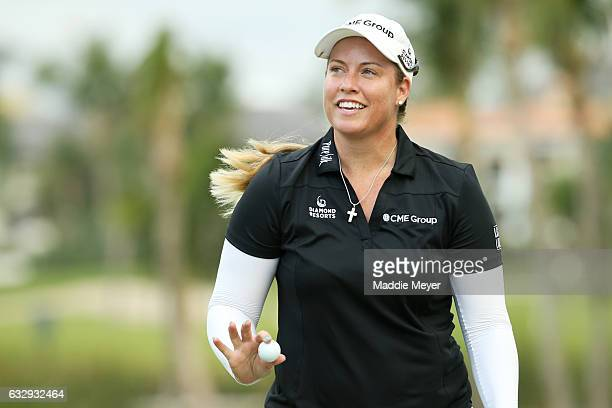 Brittany Lincicome of the United States acknowledges fans on the eighteenth green during round three of the Pure Silk Bahamas LPGA Classic on January...