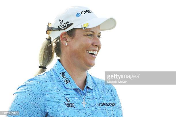 Brittany Lincicome of the United States looks on from the eighth green during round two of the Pure Silk Bahamas LPGA Classic on January 27 2017 in...