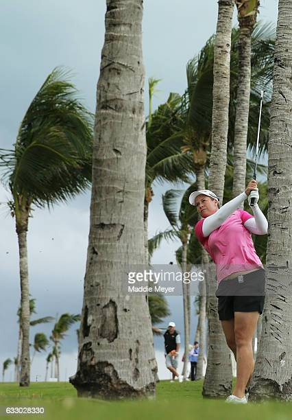 Brittany Lincicome of the United States plays a shot on the sixteenth fairway during the final round of the Pure Silk Bahamas LPGA Classic on January...