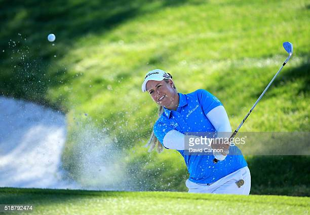 Brittany Lincicome of the United States plays her second shot at the par 3 17th hole during the third round of the 2016 ANA Inspiration at the...