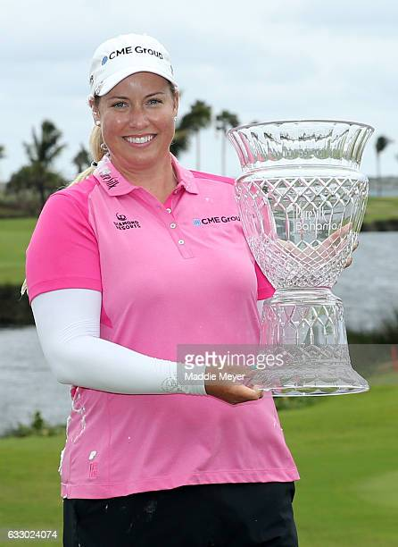 Brittany Lincicome of the United States poses with the trophy after the final round of the Pure Silk Bahamas LPGA Classic on January 29 2017 in...