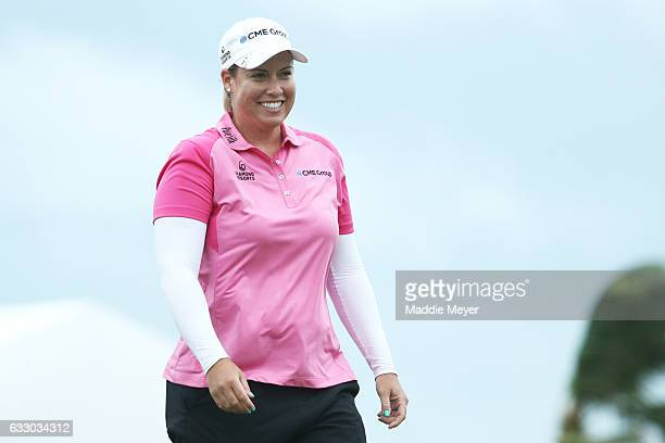 Brittany Lincicome of the United States reacts on the eighteenth green after winning the Pure Silk Bahamas LPGA Classic on January 29 2017 in...