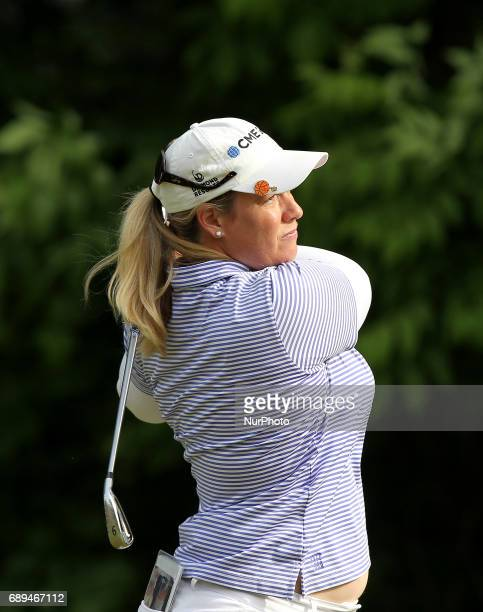 Brittany Lincicome of the United States tees off on the 7th tee during the final round of the LPGA Volvik Championship at Travis Pointe Country Club...