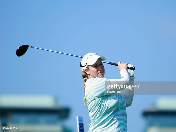 Brittany Lincicome of the US tees off on the first hole during round 1 on Day 4 of Blue Bay LPGA 2015 at Jian Lake Blue Bay golf course on October 29...