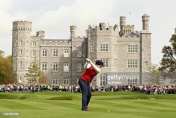 Brittany Lincicome of the USA hits an approach shot during the morning foursomes on day one of the 2011 Solheim Cup at Killeen Castle Golf Club on...
