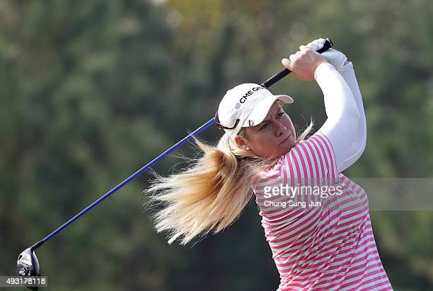 Brittany Lincicome of United States plays a tee shot on the 2nd hole during round four of the LPGA KEB HanaBank on October 18 2015 in Incheon South...