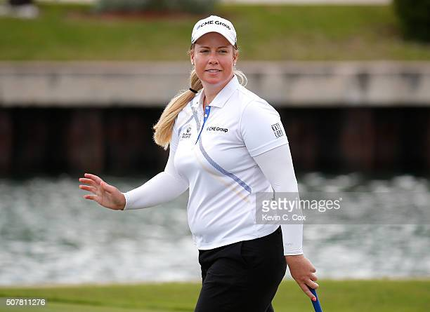 Brittany Lincicome reacts after her birdie on the 11th hole during the final round of the Pure Silk Bahamas LPGA Classic at the Ocean Club Golf...