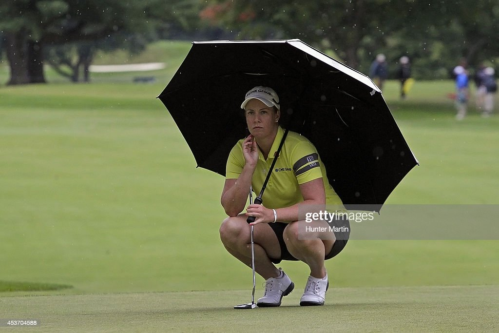 Brittany Lincicome waits to putt on the ninth hole during the third round of the Wegmans LPGA Championship at Monroe Golf Club on August 16, 2014 in Pittsford, New York.