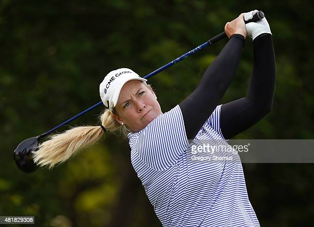 Brittany Lincicome watches her drive on the eighth hole during the second round of the Meijer LPGA Classic presented by Kraft at Blythefield Country...