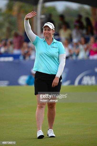 Brittany Lincicome waves to the crowd after winning the ANA Inspiration on the Dinah Shore Tournament Course at Mission Hills Country Club on April 5...