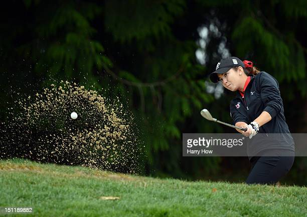Brittany Marchand of Canada hits out of the rough on the 18th hole during round one of the Canadian Women's Open at The Vancouver Golf Club on August...