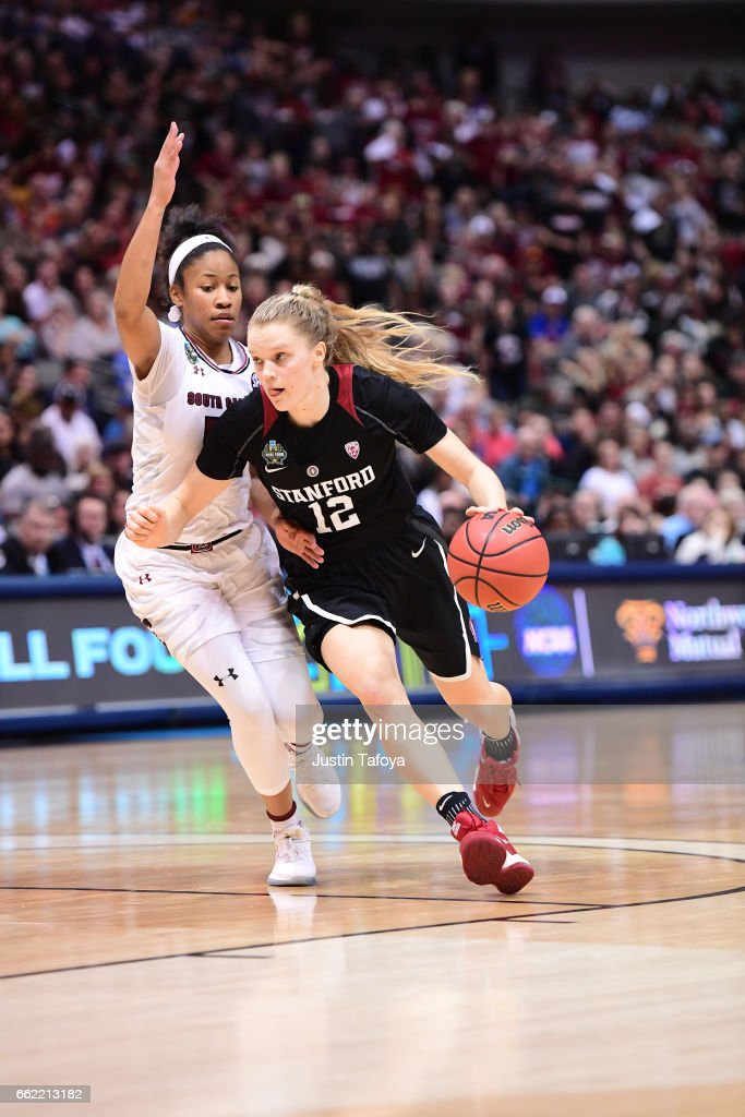 Brittany McPhee #12 of the Stanford Cardinal drives the ball during the 2017 Women's Final Four at American Airlines Center on March 31, 2017 in Dallas, Texas.