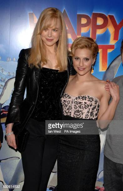Brittany Murphy and Nicole Kidman arriving for the UK Premiere of Happy Feet at the Empire Leicester Square in central London