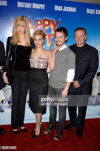 Brittany Murphy Nicole Kidman Elijah Wood and Robin Williams arriving for the UK Premiere of Happy Feet at the Empire Leicester Square in central...
