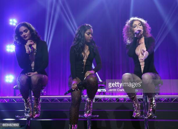 Brittany O'Grady Ryan Destiny and Jude Demorest perform during the Honda Stage Celebrates The Music Of FOX's 'Star' event at iHeartRadio Theater on...