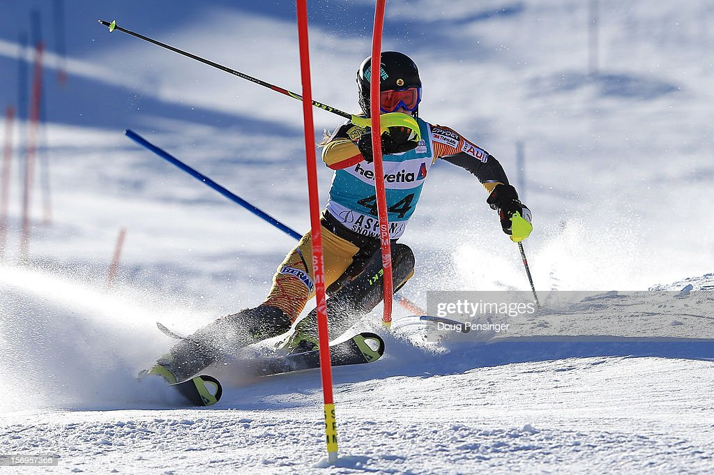 Brittany Phelan of Canada skis the first run of the women's slalom at the Nature Valley Aspen Winternational Audi FIS Ski World Cup at Aspen Mountain on November 25, 2012 in Aspen, Colorado.