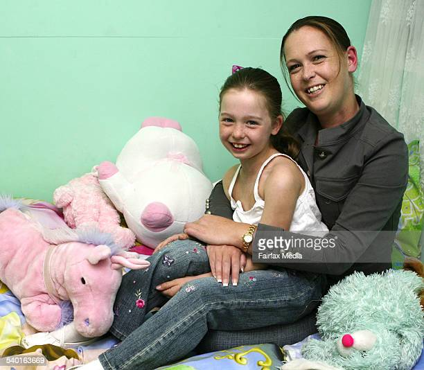 Brittany Pine who recently recovered meningococcal with her mother Kristy Pine 24 August 2006 SHD NEWS Picture by JANIE BARRETT