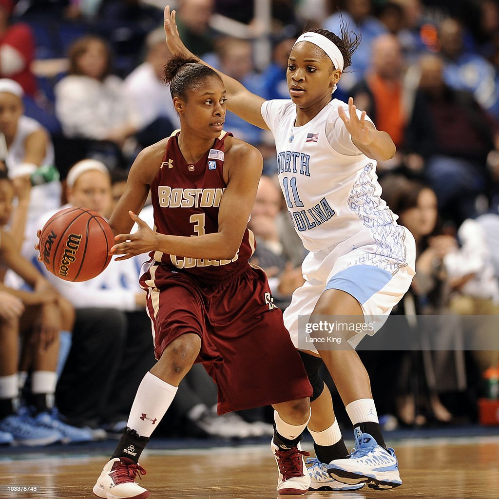 Brittany Rountree #11 of the North Carolina Tar Heels defends Tessah Holt #3 of the Boston College Eagles during the quarterfinals of the 2013 Women's ACC Tournament at the Greensboro Coliseum on March 8, 2013 in Greensboro, North Carolina.