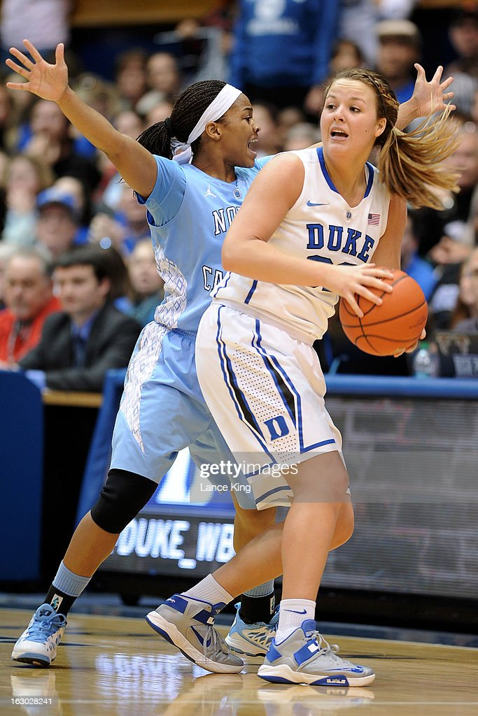 Brittany Rountree #11 of the North Carolina Tar Heels defends Tricia Liston #32 of the Duke Blue Devils at Cameron Indoor Stadium on March 3, 2013 in Durham, North Carolina. Duke defeated North Carolina 65-58.