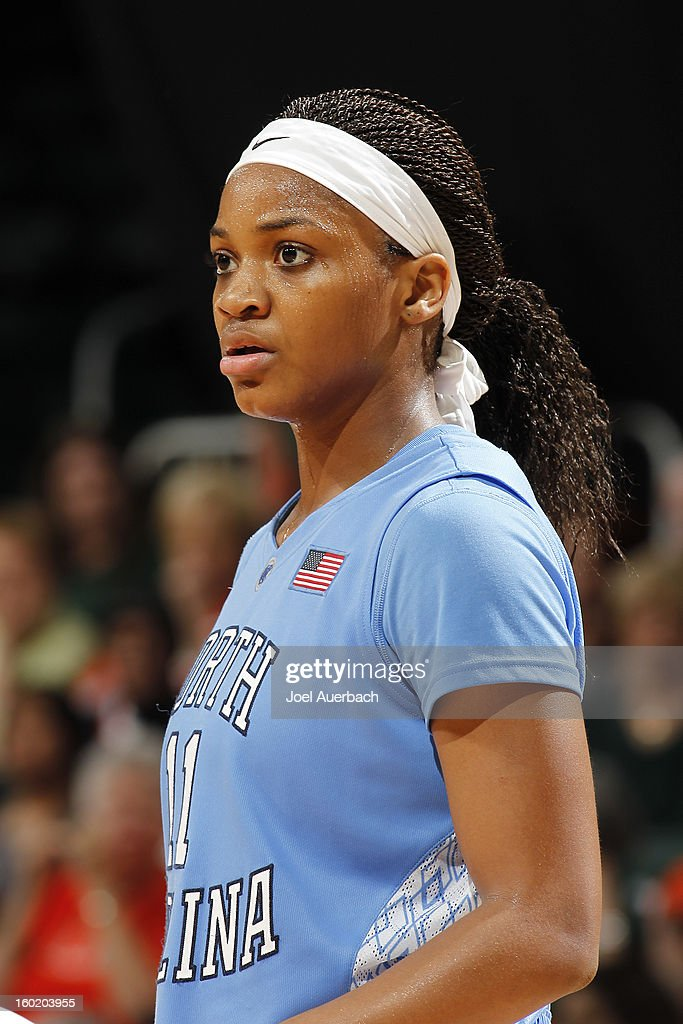 Brittany Rountree #11 of the North Carolina Tar Heels looks on during free throws by the Miami Hurricanes on January 27, 2013 at the BankUnited Center in Coral Gables, Florida. The Tar heels defeated the hurricanes 64-62.