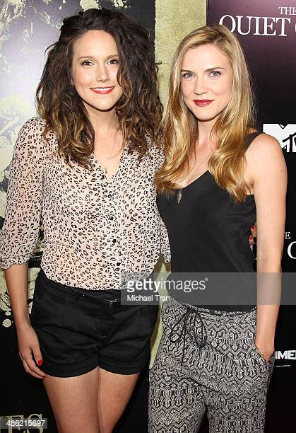 Brittany Willacy and Sara Canning arrive at the Los Angeles Premiere of 'The Quiet Ones' held at The Theatre at Ace Hotel on April 22 2014 in Los...
