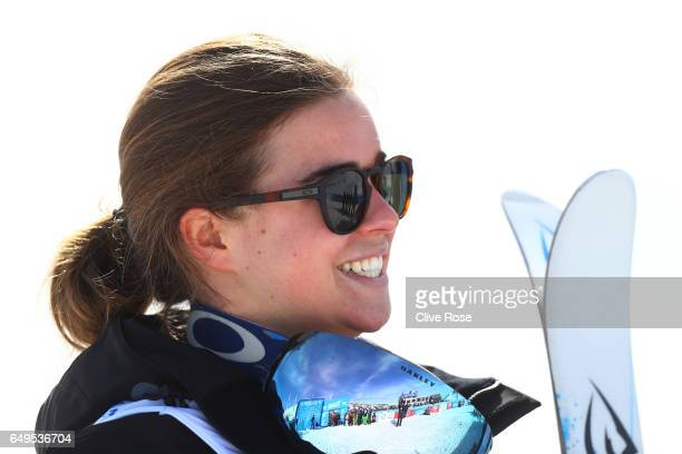 Britteny Cox of Australia celebrates after winning the gold medal during the Women's Moguls big final on day one of the FIS Freestyle Ski Snowboard...
