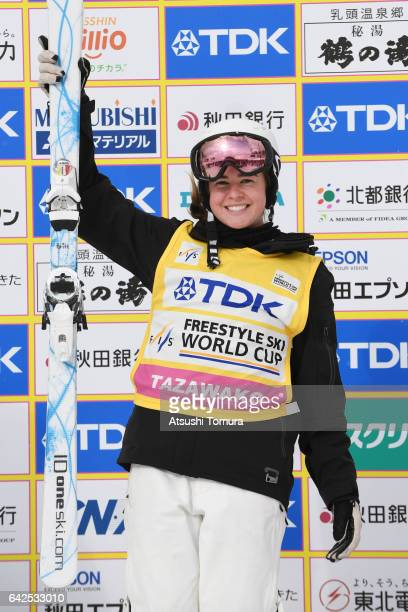 Britteny Cox of Australia celebrates on the podium after winning the ladies moguls after winning in the ladies moguls during 2017 FIS Freestyle Ski...