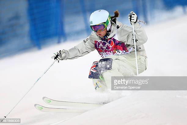 Britteny Cox of Australia competes in the Ladies' Moguls Final 2 on day 1 of the Sochi 2014 Winter Olympics at Rosa Khutor Extreme Park on February 8...