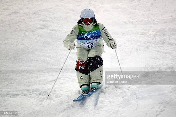 Britteny Cox of Australia competes in the women's freestyle skiing moguls practice held at Cypress Mountain ahead of the Vancouver 2010 Winter...