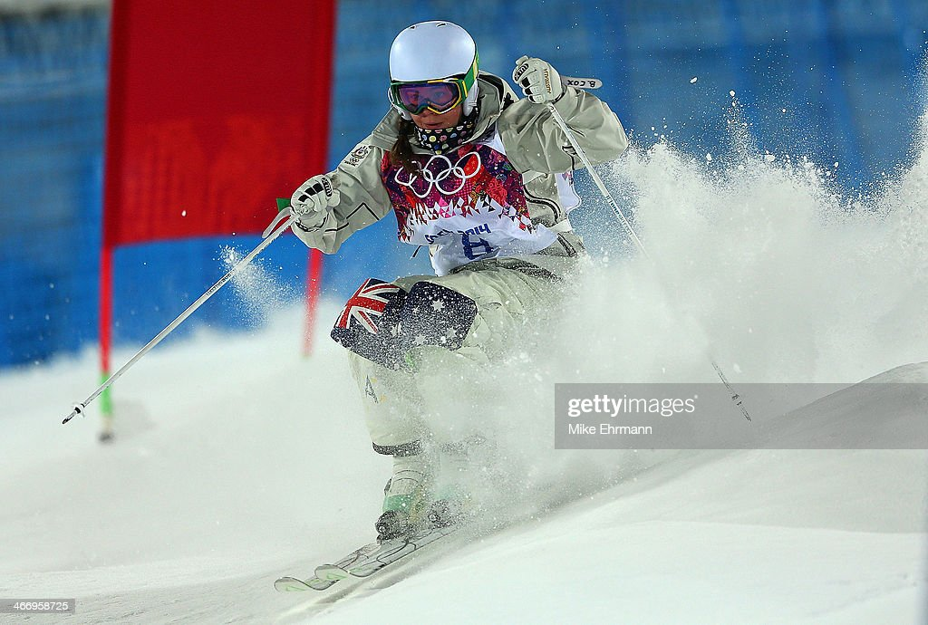 Britteny Cox of Australia practices during training for Moguls competition at the Extreme Park at Rosa Khutor Mountain on February 5, 2014 in Sochi, Russia.