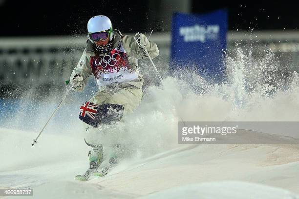 Britteny Cox of Australia practices during training for Moguls competition at the Extreme Park at Rosa Khutor Mountain on February 5 2014 in Sochi...